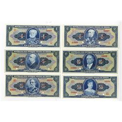 Republica dos Estados Unidos do Brasil, 1940s, Group of 10 SPECIMEN Notes.