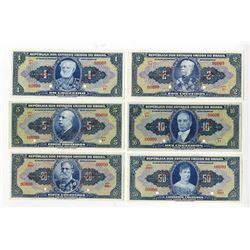 Republica dos Estados Unidos do Brasil, 1940s, Group of 10 SPECIMEN Notes.