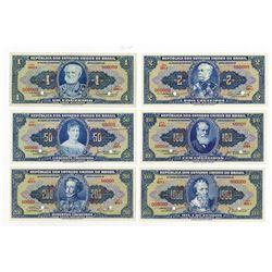 Republica dos Estados Unidos do Brasil, 1940s, Group of 6 SPECIMEN Notes.