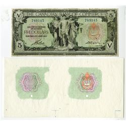Canadian Bank of Commerce, 1917 $5 Banknote with Matching Proof Undertint.
