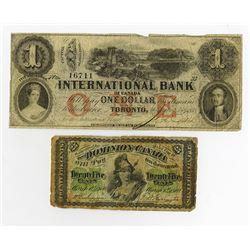 Dominion & International Bank of Canada, 1858-1870, Pair of Issued Notes.