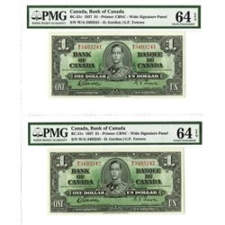 Bank of Canada, 1937 High Grade Sequential Banknote Pair.