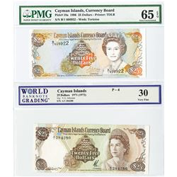 Cayman Islands Currency Board, 1971 & 1996 $25 Denomination Banknote Pair.