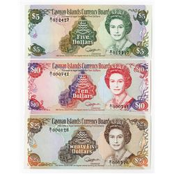 "Cayman Islands Currency Board, 1991 ""Revised"" Issue Banknote Trio."