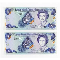 "Cayman Islands Currency Board, 1996 ""Matching Low Serial Number"" Banknote Pair."