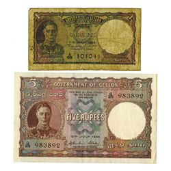 Government of Ceylon, 1944-1946, Pair of Issued Notes