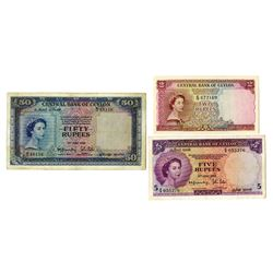 Central Bank of Ceylon, 1952 Banknote Trio.