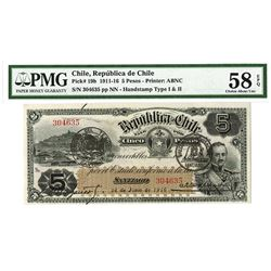 Republica De Chile, 1916 Issued Banknote.