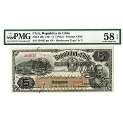 Republica De Chile, 1916 Issued Banknote.