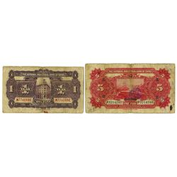 National Industrial Bank of China, 1924 & 1931  Shanghai  Branch Issue Pair.