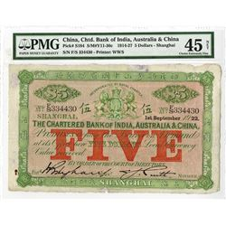 "Bank of India, Australia & China, 1922 ""Shanghai"" Branch Issue Banknote."