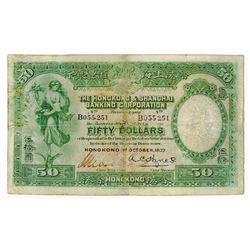 Hongkong & Shanghai Banking Corporation, 1927 Issued and Repaired Banknote.