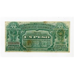 Banco Nacional de la Republica de Colombia, 1886, Issued Note.