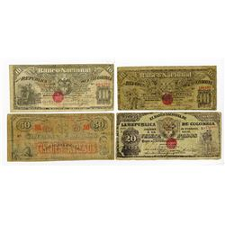 Banco Nacional, 1900, Quartet of Issued Notes.
