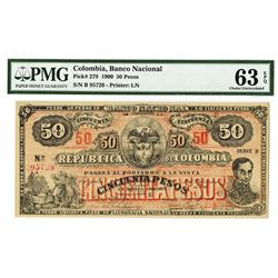 Banco Nacional De La Republica De Colombia, 1900 Issued Banknote.