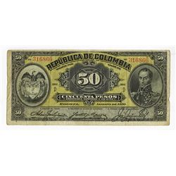 Republica De Colombia, 1910 Issued Banknote.