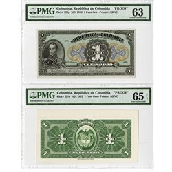 Republica de Colombia, 1915 Proof Uniface Front and Back Banknote.