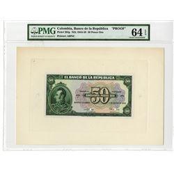 Banco de la Republica, 1953, 50 Pesos Oro Proof Banknote.