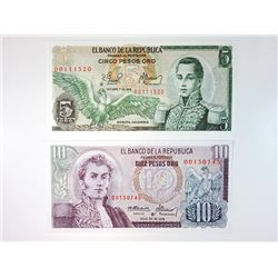 Banco De La Republica, 1978 Colorful Replacement Note Pair.