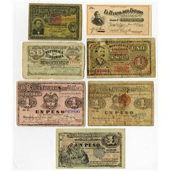 Banco Nacional de Colombia & Others, 1880-1900s, Group of 7 Issued Notes.
