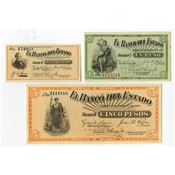 Banco del Estado, 1900, Trio of Issued Notes.