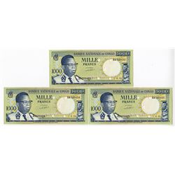 Banque Nationale Du Congo, 1964 Sequential Trio of notes.