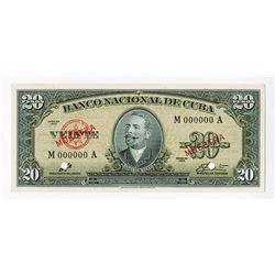 Banco Nacional De Cuba, 1960 Issue, Che Guevara Signature on Specimen Banknote.