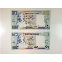 Central Bank of Cyprus, 2004 Replacement Note Pair.