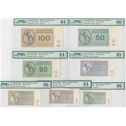 Theresienstadt Concentration Camp Ghetto Currency 1943 Set of 7 notes.