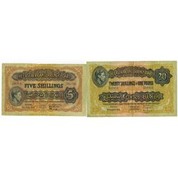 East African Currency Board, 1941-51 Issue Banknote Pair.