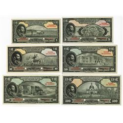 State Bank of Ethiopia 1945 Set of 6 Uniface Front & Back Specimen Banknotes.