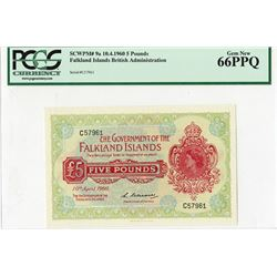 Government of the Falkland Islands, £5, 1960