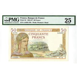 Banque de France, 1937 Issued Banknote.