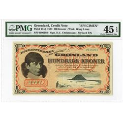Greenland, Kreditseddel, Credit Note, 1953 Specimen Banknote.