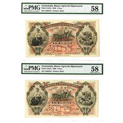 Banco Agricola Hipotecario, 1920 Sequential Banknote Pair.