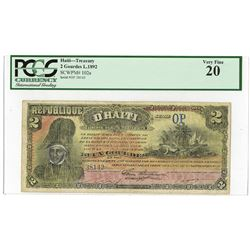 Republique D'Haiti, L.1892 Issued Banknote.