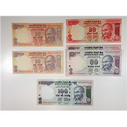 Reserve Bank of India, Group of 6 Mostly Different 1996 Replacement Notes.