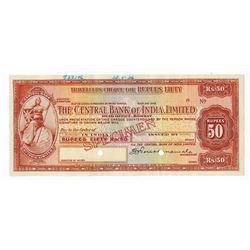 Central Bank of India, Limited 1936 Specimen Traveler's Check.