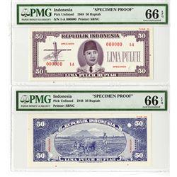 Republik Indonesia 1948 Specimen Uniface F & B Essay Banknote