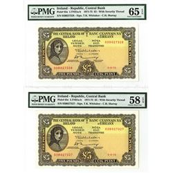 Central Bank of Ireland, 1975 Sequential Banknote Pair.