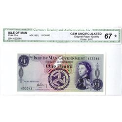 Isle of Man Government, ND (1961) Issued Banknote.