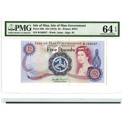 Isle of Man Government, ND (1972) Issued Banknote.