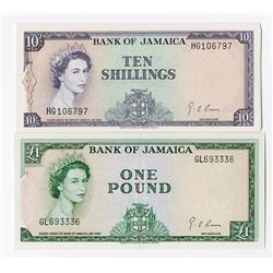 Bank of Jamaica, 1964 £1 and £10 Banknotes