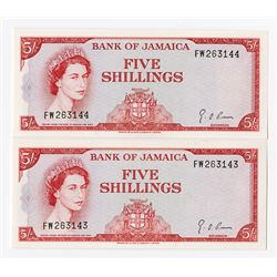 Bank of Jamaica, 1964 £5 Consecutively-Numbered Pair
