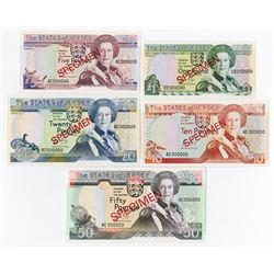 States of Jersey, 1989, Specimen Banknote Assortment