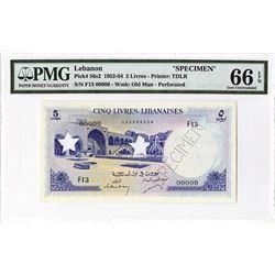 Banque De Syrie Et Du Liban, 1952-64 Specimen Banknote.