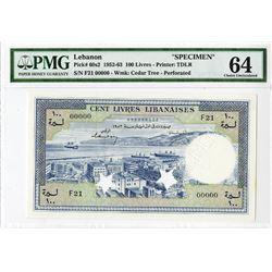 Banque De Syrie Et Du Liban, 1952-63 Specimen Banknote.
