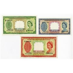 Board of Commissioners of Currency, Malaya and British Borneo, 1953 Banknote Issue Trio.