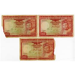 Banque De La Republique du Mali, Second 1960 (1967) Issue Banknote Trio.