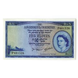Government of Mauritius, ND (1954) Issued Banknote.